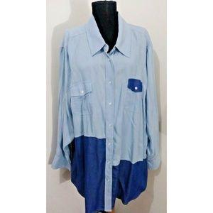 Lane Bryant Color Block Blue Long Sleeve Blouse